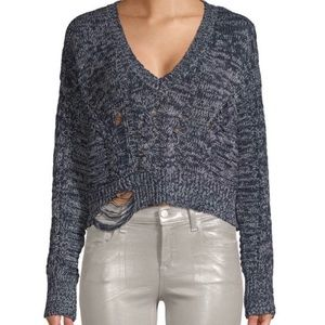 Wildfox Nancy Distressed Pullover Sweater M